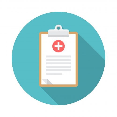 Medical clipboard icon with long shadow. Flat design style. Round icon. Clipboard silhouette. Simple circle icon. Modern flat icon in stylish colors. Web site page and mobile app design element.